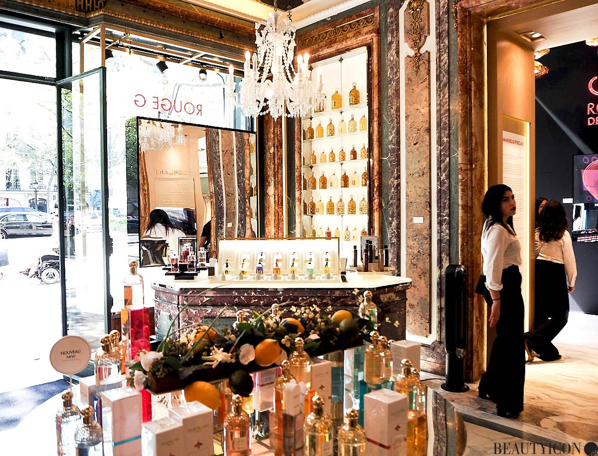 Butik Guerlain 68 Champs Elysees Paryż, perfumy Guerlain, kosmetyki Guerlain
