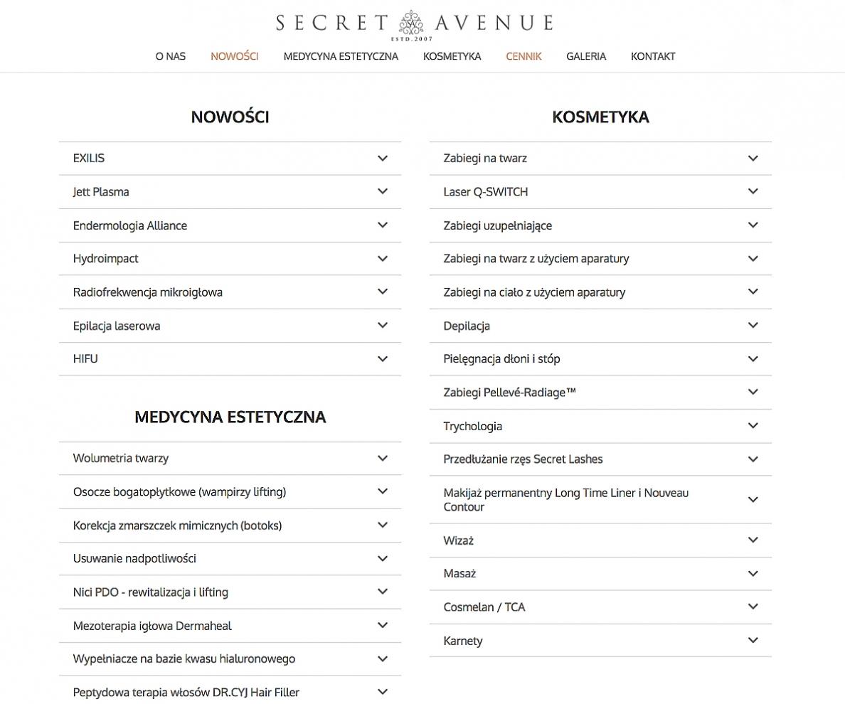 Oferta zabiegów w Secret Avenue Gdańsk