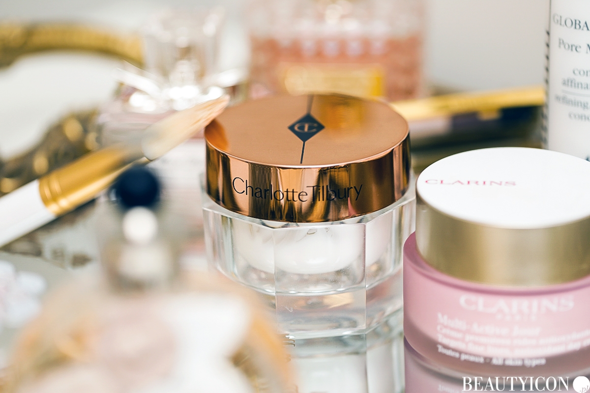 Krem Charlotte Tilbury Magic Cream, Clarins Multi Active Jour 30+, krem na dzień, krem pod makijaż, krem pod podkład, Sisley Global Perfect