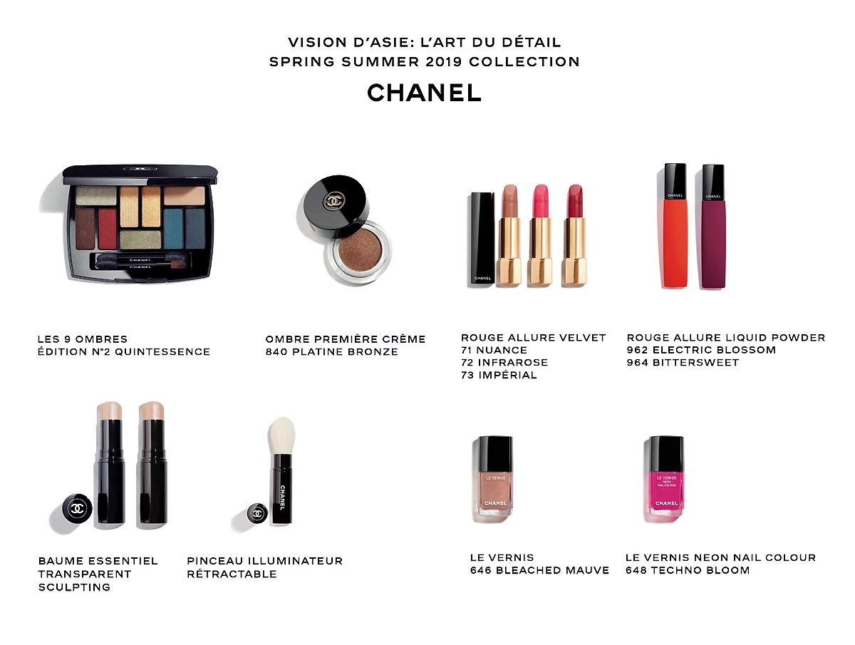 Makijaż Chanel Vision D'Asie, Chanel Spring Summer 2019, Rouge Allure Velvet Powder, Les 9 Ombres Quintessence, Ombre Premiere Creme Patine Bronze