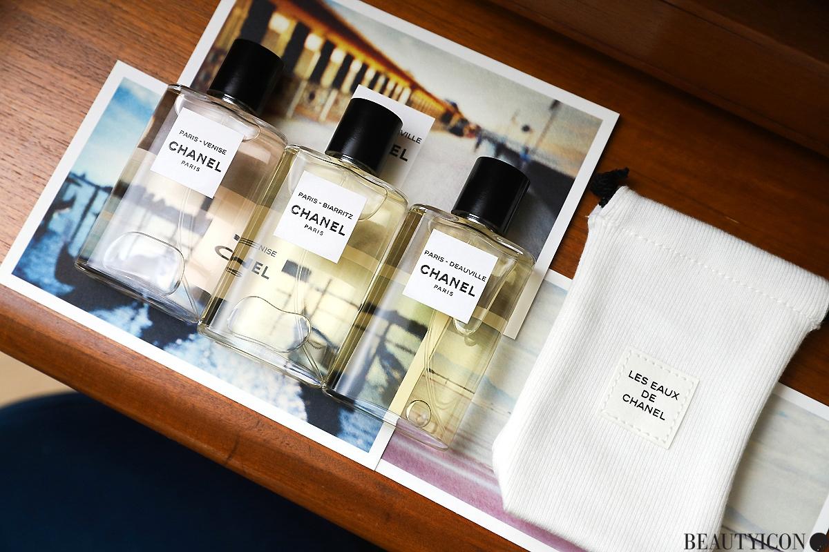 Les Eaux de Chanel Travel Set, Chanel Le Voyage Les Eaux de Chanel, Chanel Paris, Chanel Deauville, Chanel Biarritz, perfumy Chanel, butik Chanel