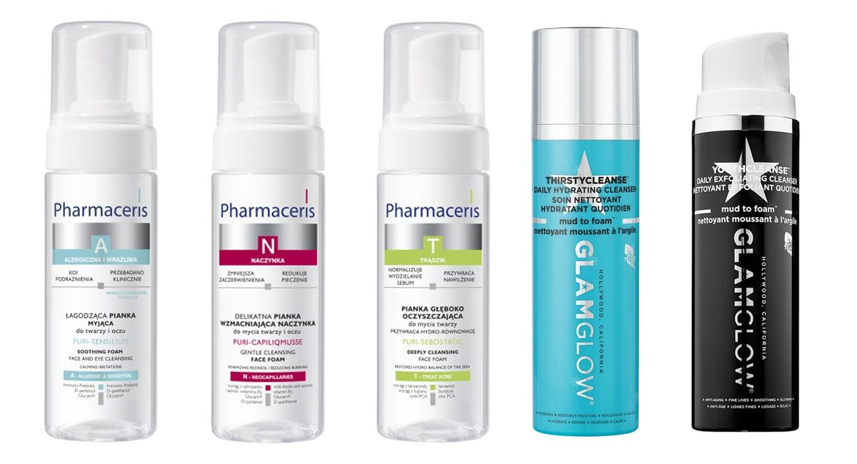Kosmetyki delikatne oczyszczanie twarzy, Pharmaceris pianka do mycia twarzy, Glam Glow Youthcleanse