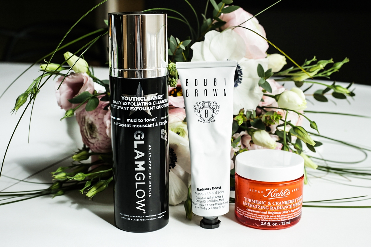 Glam Glow YouthCleanse, Bobbi Brown Radiance Boost Mask, Kiehl's Energizing Radiance Masque